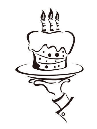 the outline of hand holding the tray of cake Vector