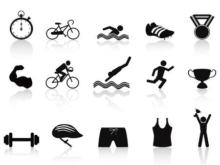 chronom�tre: isol� jeu d'ic�nes du sport du triathlon sur fond blanc