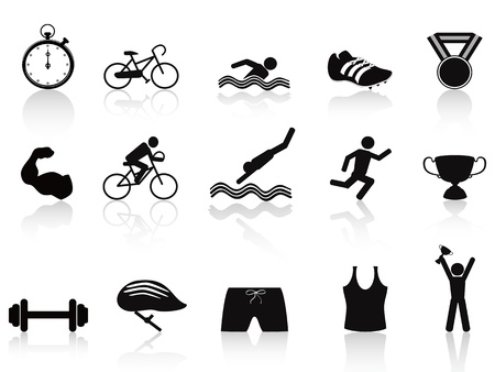 isolated triathlon sport icon set on white background Stock Vector - 12075261