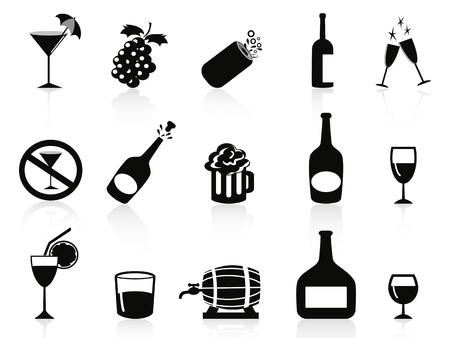 whiskey: изолированной черной и безалкогольные напитки значки на белом фоне