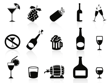 champagne pop: isolated black drinks and beverages icons on white background Illustration