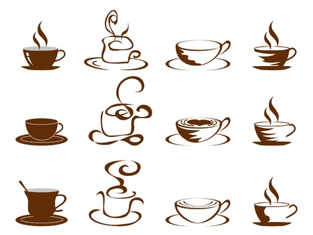 latte art: isolated coffee cups icon o white background