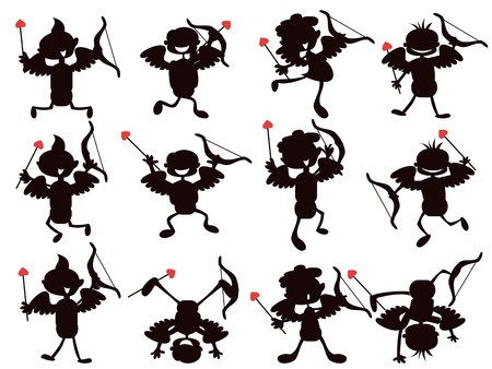 Cupid silhouettes drew in cute cartoon style Vector