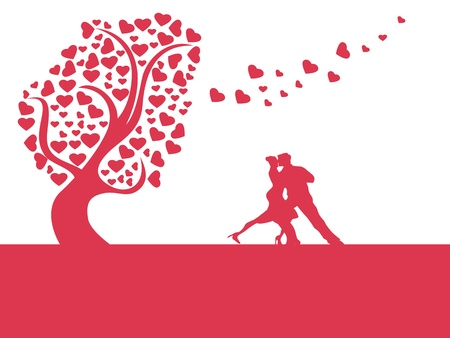 flying kiss: the background of love heart tree