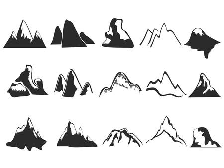 montañas nevadas: iconos aislados de montaña que figuran en el fondo blanco Vectores