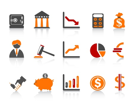 calculator money: isolated simple bank icons,color series from white background Illustration
