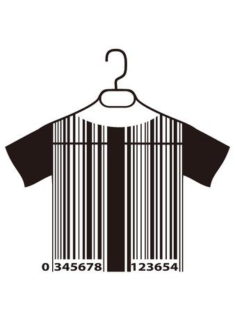 geïsoleerde barcode T-shirt opknoping op doek hanger van een witte achtergrond Vector Illustratie