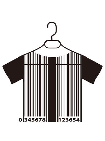 barcode: isolated barcode T-shirt hanging on cloth hanger from white background Illustration