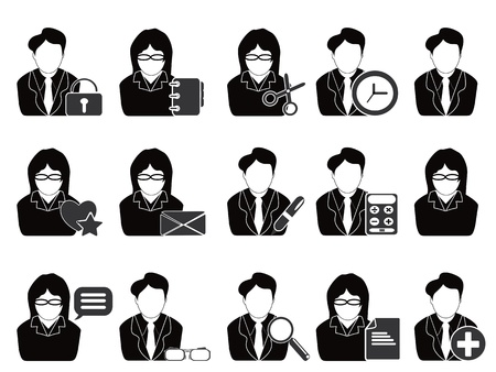 isolated business people with office tools icon on white background  Vector