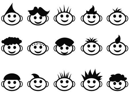 various cute cartoon kids face with hair style icons on white background Vector