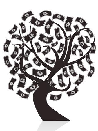 흰색 배경에 고립 된 검은 돈 나무