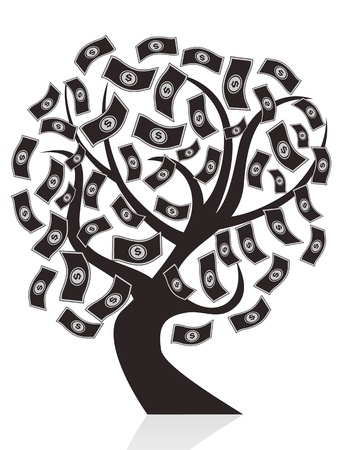 isolated black money tree on white background Vector