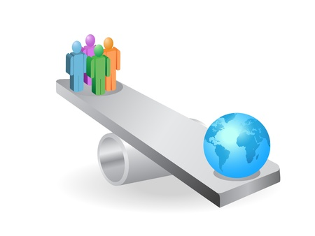 the concept of people balance with earth on seesaw Vector