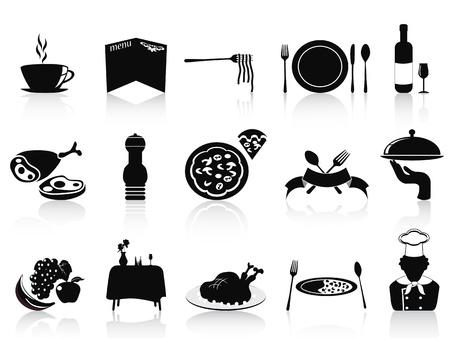 cocinero italiano: aislados iconos restaurante negros establecidos en el fondo blanco Vectores