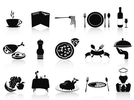 isolated black restaurant icons set on white background Stock Vector - 12306115