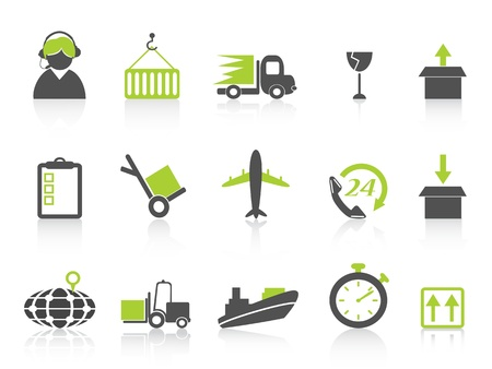 shipping container: isolated simple logistics and shipping icons on white background , green series