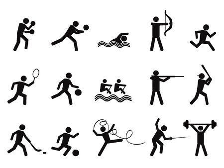 isolated sport people silhouettes icon on white background Vector