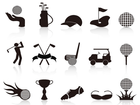 golf field: isolated black golf icons set on white background Illustration