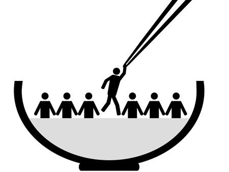 recruter: Une personne est choisie par des baguettes de la cuvette