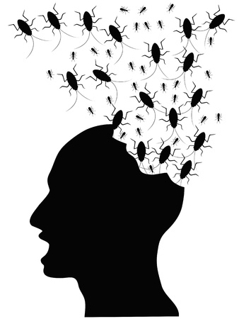 a horrified people by bugs eating his head Vector