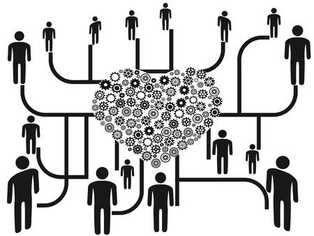 el fondo de las redes de personas a través de los engranajes del corazón del centro
