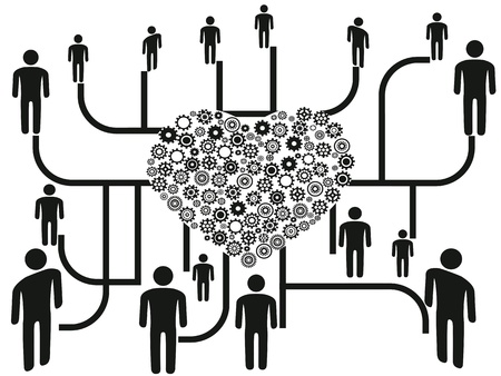 cogs: the background of people networking through heart gears center