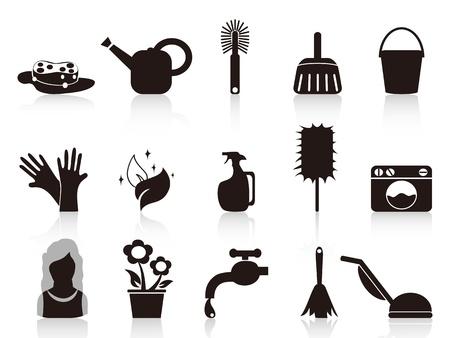 vacuuming: isolate le icone domestiche nere sfondo bianco
