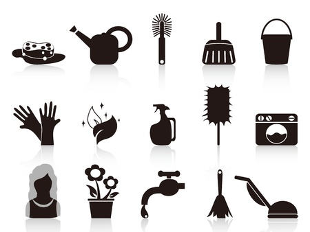 vacuuming: isolated black household icons from white background
