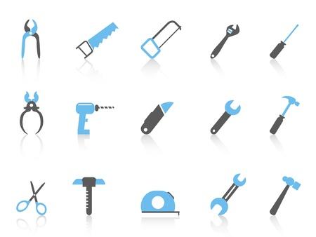 box cutter: aislados simples iconos de herramientas de mano con el color negro y azul de fondo blanco