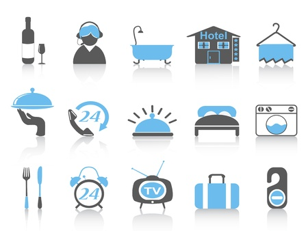 accommodation: isolated simple hotel icons with black and blue color from white background