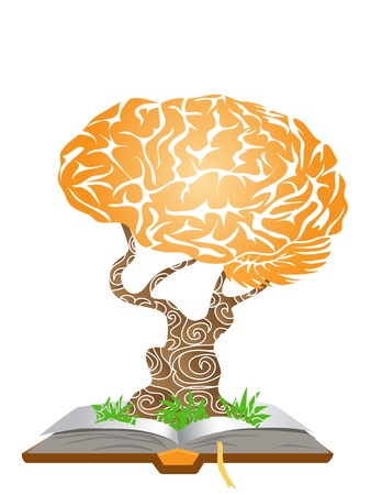 knowledge tree: brain tree growing from the book Illustration
