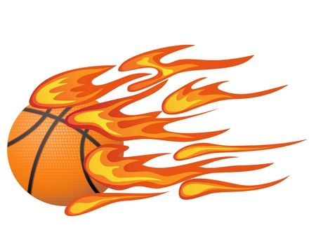 isolated basketball with flame from white background Vector