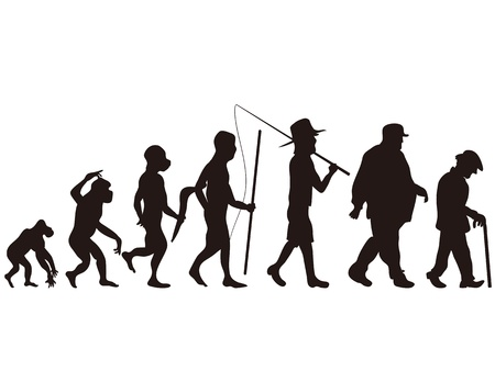the human evolution from primitive step to modern step Stock Vector - 12306125