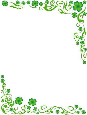 the background of four-leaved clover frame with copy space in the middle Vector