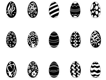 silhouette lapin: isolés noirs de Pâques icônes d'oeufs de fond blanc