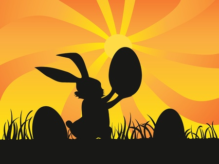 a rabbit holding a egg at sunset for easter day Vector