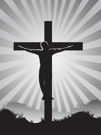 Christian cross on Sunburst background for easter day