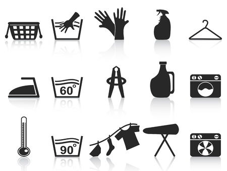 lavanderia: aislados iconos lavander�a negros establecidos en el fondo blanco Vectores