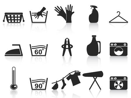 detersivi: isolati icone lavanderia nero � impostata su sfondo bianco Vettoriali