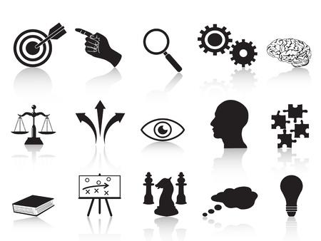 estrategia: conceptos aislados iconos estrategia establecida desde el fondo blanco Vectores
