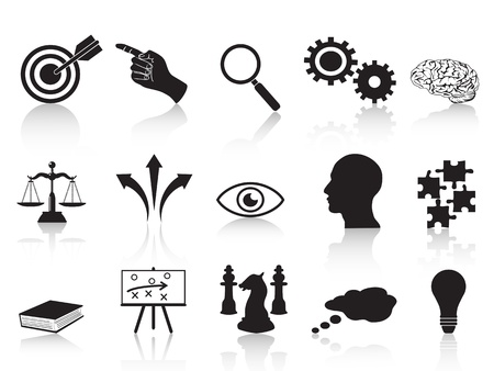 target: isolated strategy concepts icons set from white background Illustration