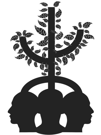 the concept of 3 heads with a tree growing Vector