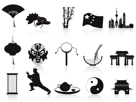 isolated black chinese icons set from white background Vector