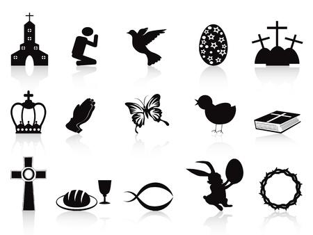 crown of thorns: aislados negros de Pascua iconos conjunto sobre fondo blanco