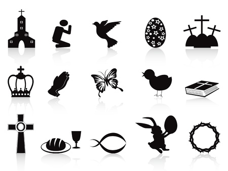 praise: isolated black easter icons set on white background Illustration
