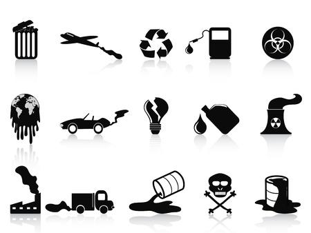 camion de basura: aislados iconos negros de contaminaci�n establecidos en el fondo blanco Vectores