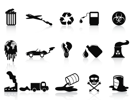 barrels with nuclear waste: isolated black pollution icons set from white background