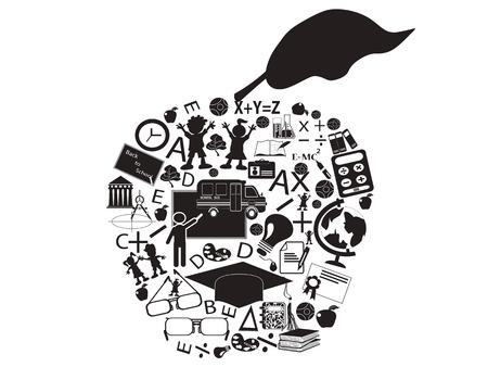 high school student: aislado de una educaci�n de manzana llena de iconos de educaci�n Vectores
