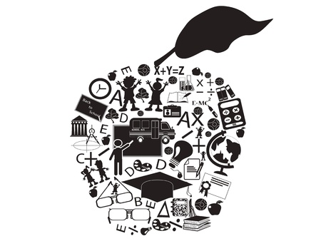 teaching children: isolated an education apple filled with education icons  Illustration