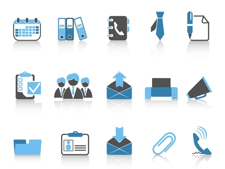 isolated office and business icons in blue series Vector
